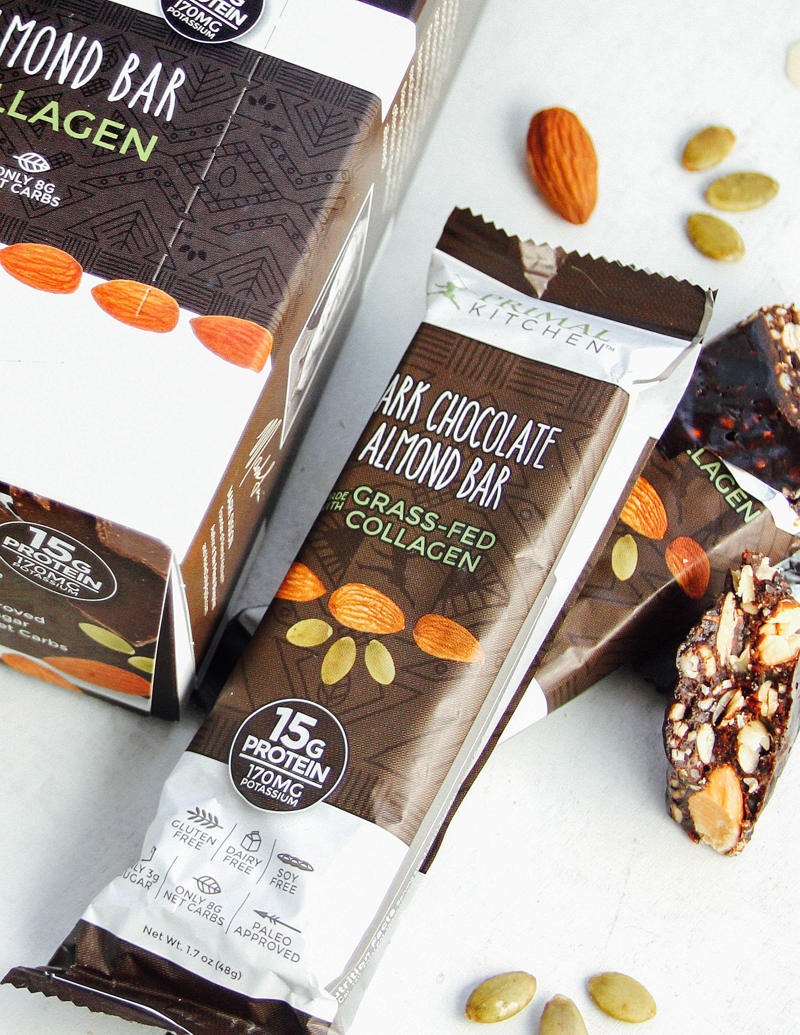 Primal Kitchen Dark Chocolate Almond Bars 12 Pack Chocolate Almonds Almond Bars Paleo Dark Chocolate