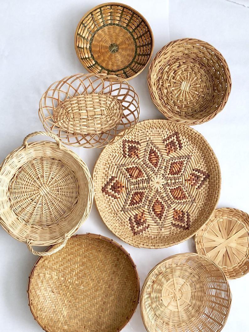 Ceylon Handmade CANE BASKET Vegetable Fruit Natural Kitchen Storage Round Decor