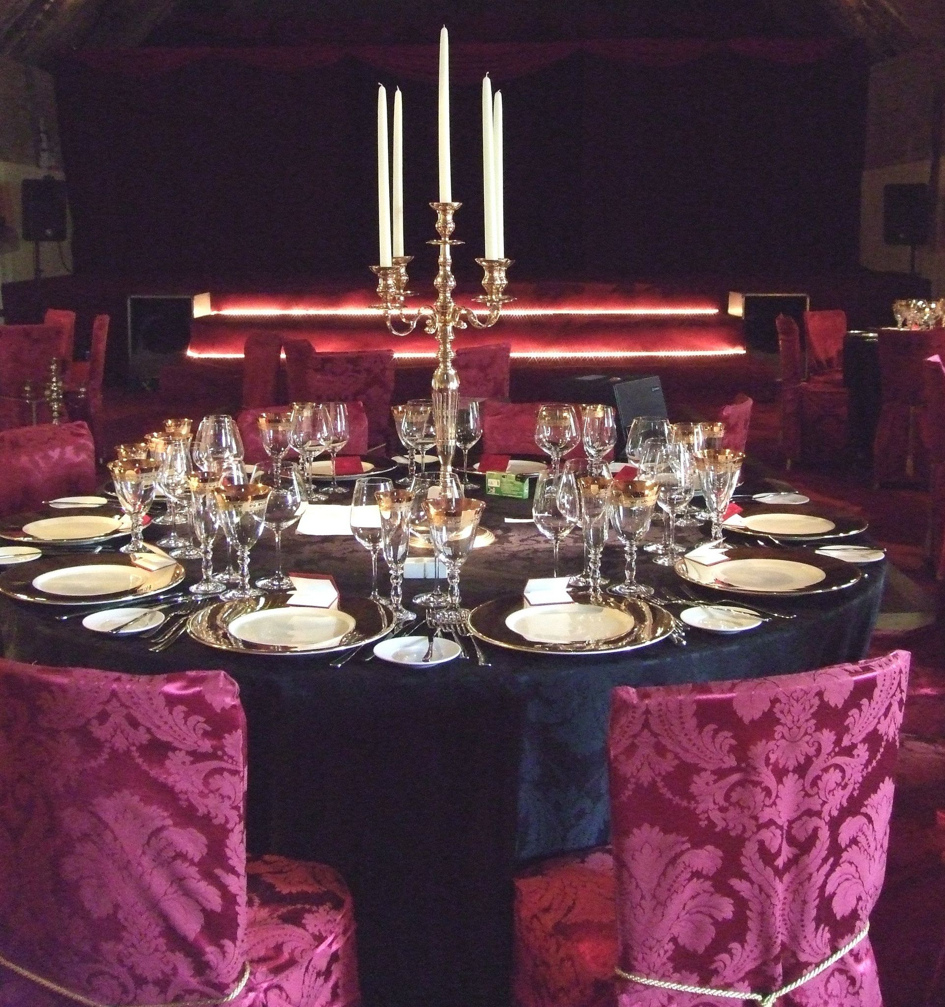 Stanway House Glos 70cm brass table candelabra with white dinner