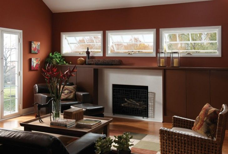 Contemporary Living Room With Adorable Awning Windows Design With