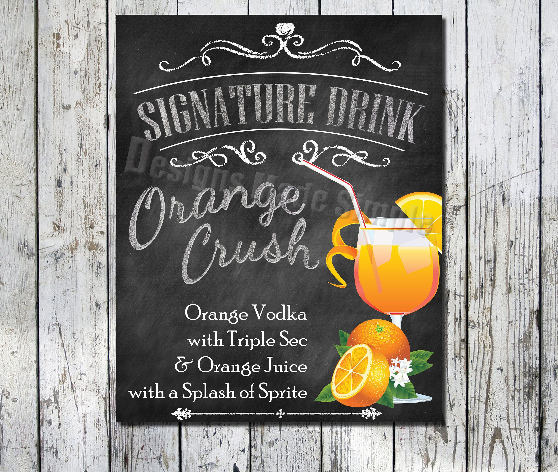 Orange Crush Signature Drink Wedding, Bridal Shower, Event