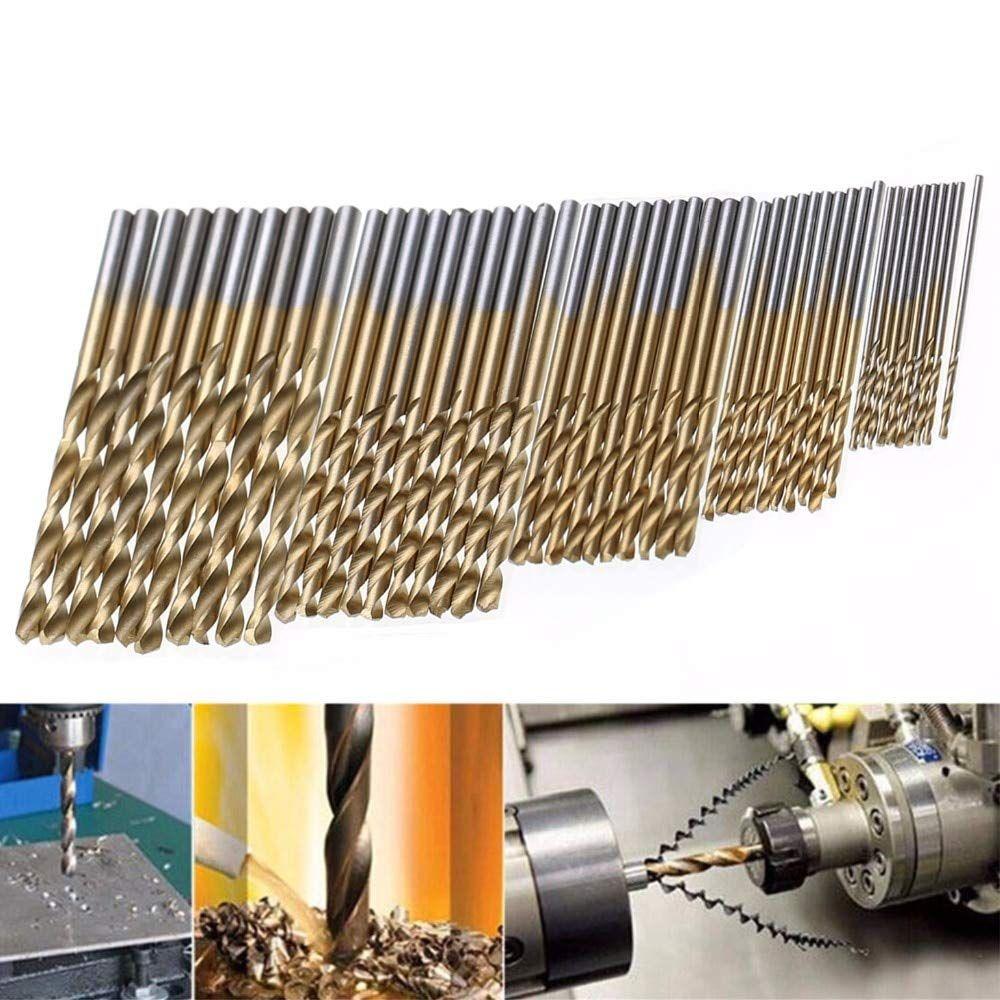 50Pcs HSS Titanium Coated Drill Bits High Speed Steel Drill Bit Set High