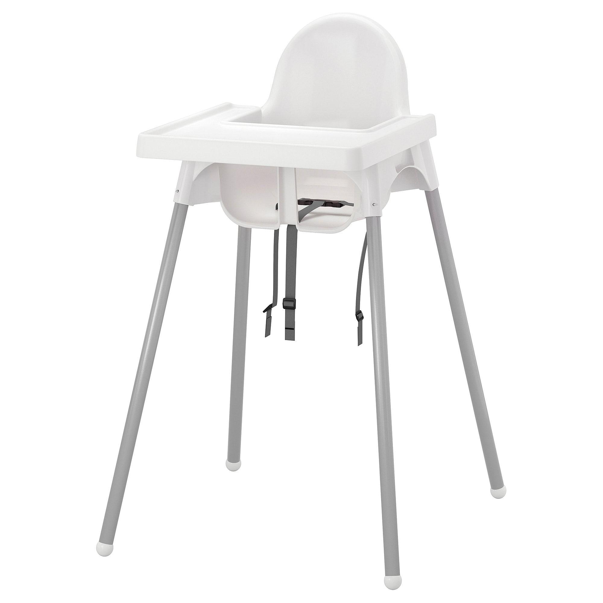 Antilop Chaise Haute Avec Plateau Blanc Gris Argent Ikea Antilop High Chair Ikea High Chair Baby High Chair
