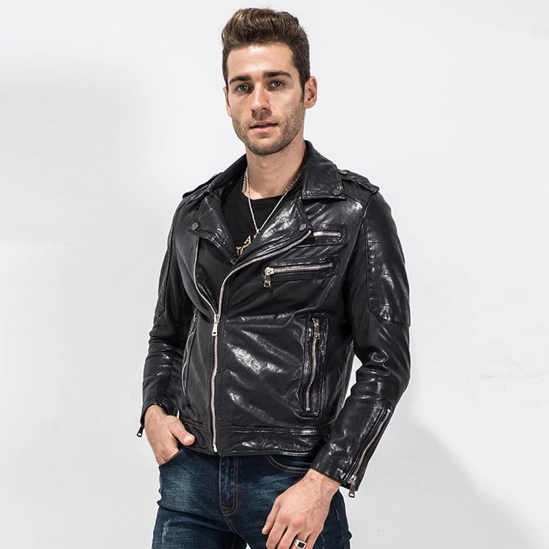 $231.2 Men's Leather Jacket Punk Rock Jacket Rider Outerwear Short ...
