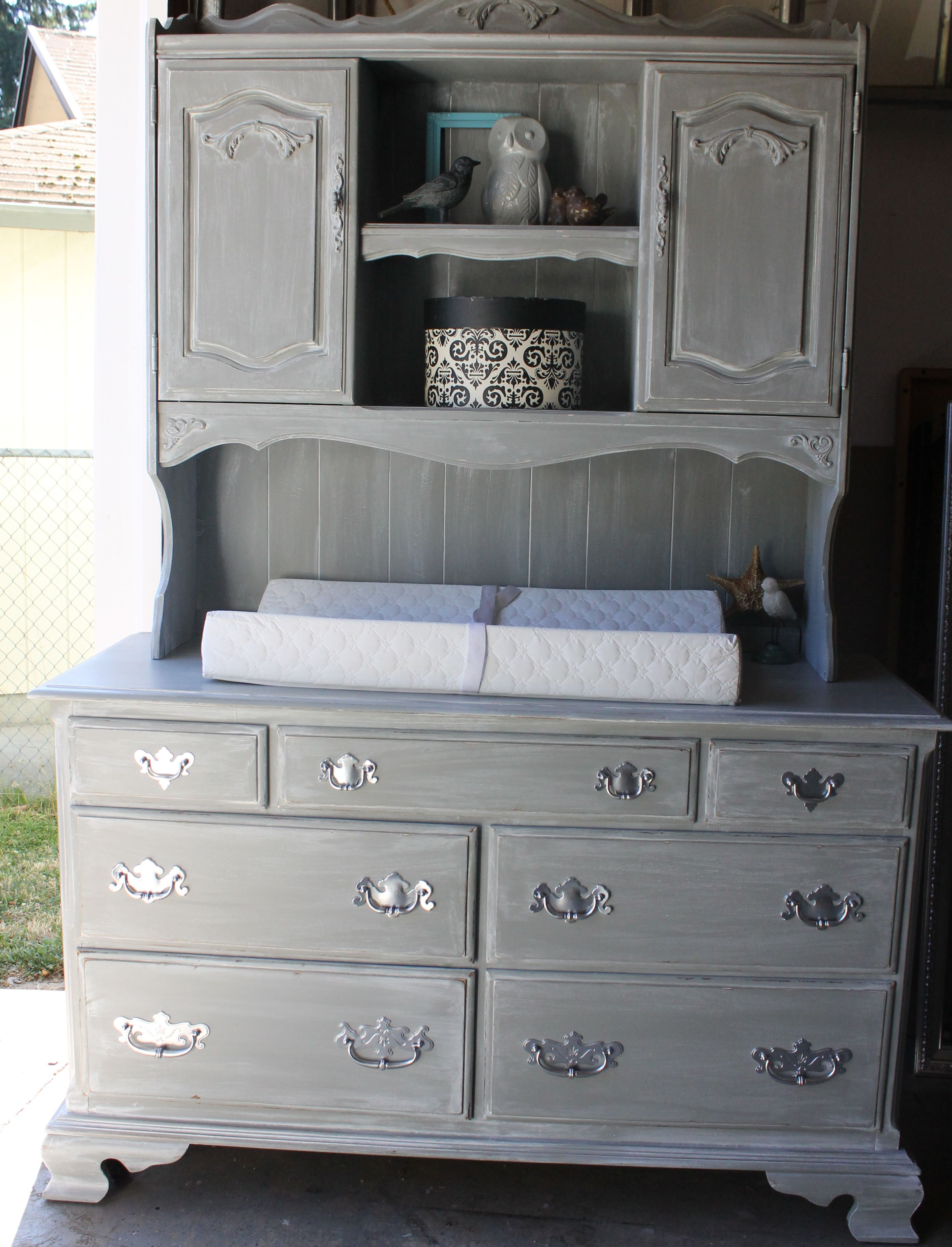 Vintage Ethan Allen Dresser Repurposed Into Weathered French Cottage Gray  Distressed Baby Changing Table With Hutch