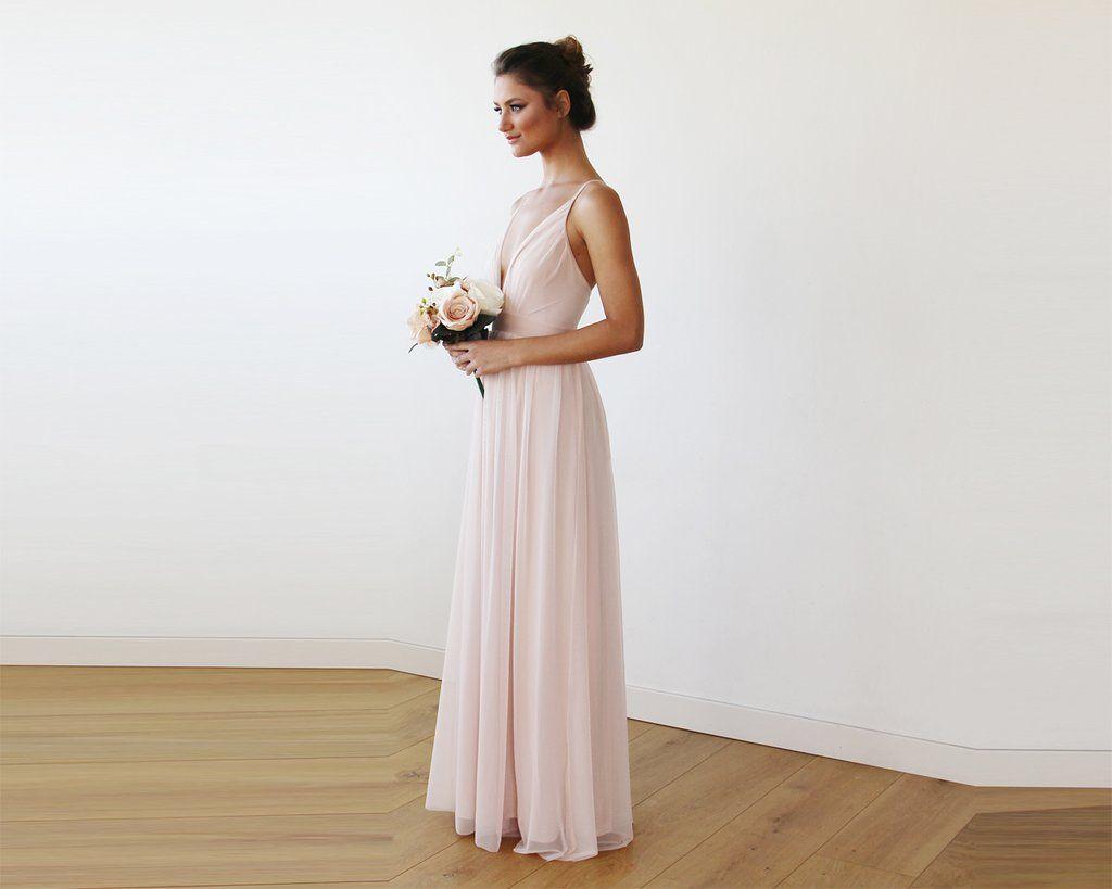 Chiffon Maxi wrap with thin straps - Light pink maxi dress ...