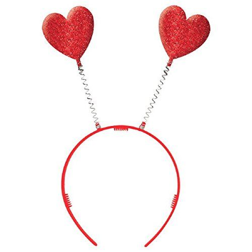 3 Pieces Red Glitter Heart Sequin Headband Love-Shaped Head Boppers for Valentines Day Holiday Festival Head Accessory