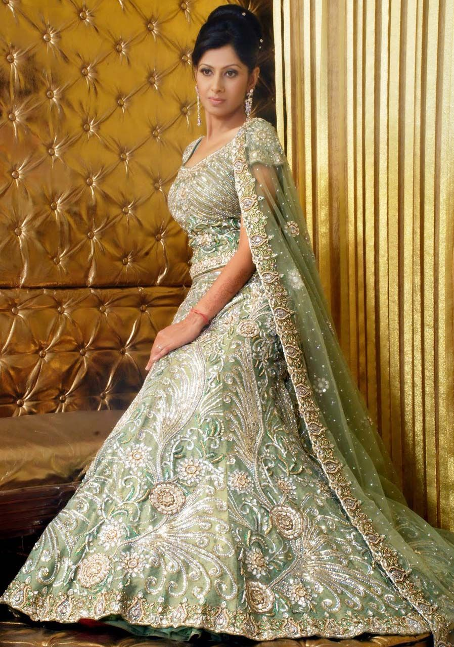 Indian Dresses Bride Olive Green Banarasi Pure Georgette And Net Wedding Fish Tail Lehnga