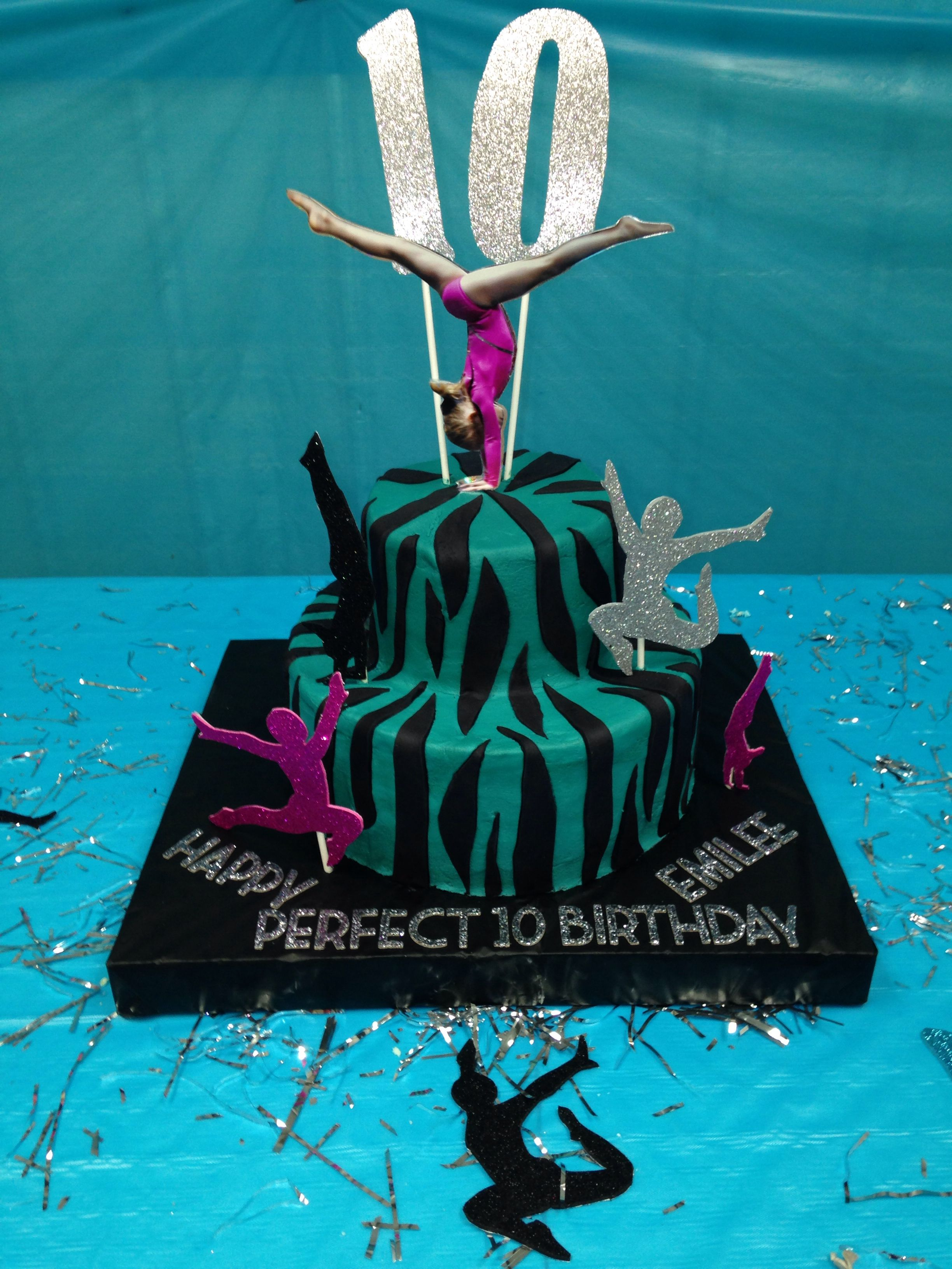 """Cake for my daughters """"Perfect 10 0 Gymnastics Birthday"""""""