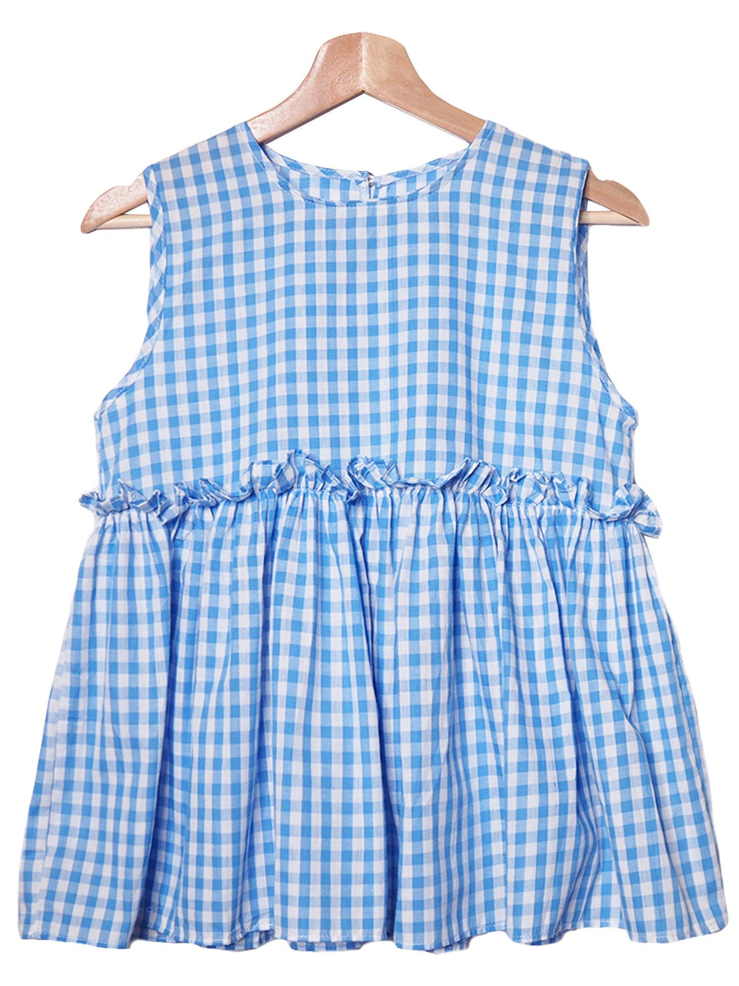 Porsha Gingham Frilly Peplum Sleeveless Top Products