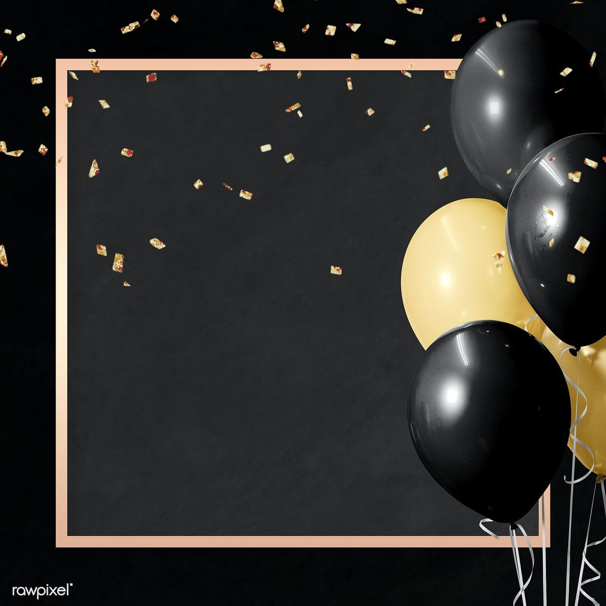 Photo of Download premium illustration of Golden square balloons frame design