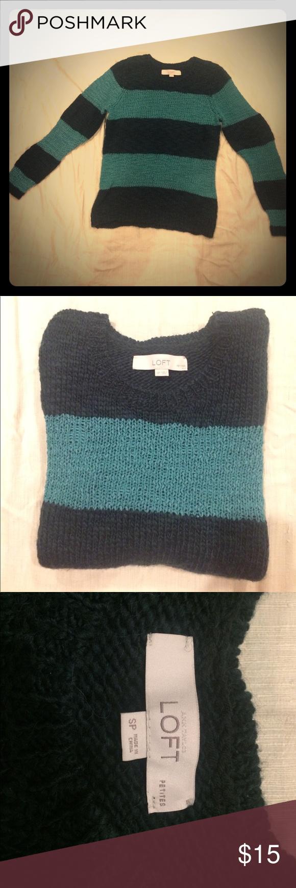 Ann Taylor Loft striped knit sweater Small Petite Dark green