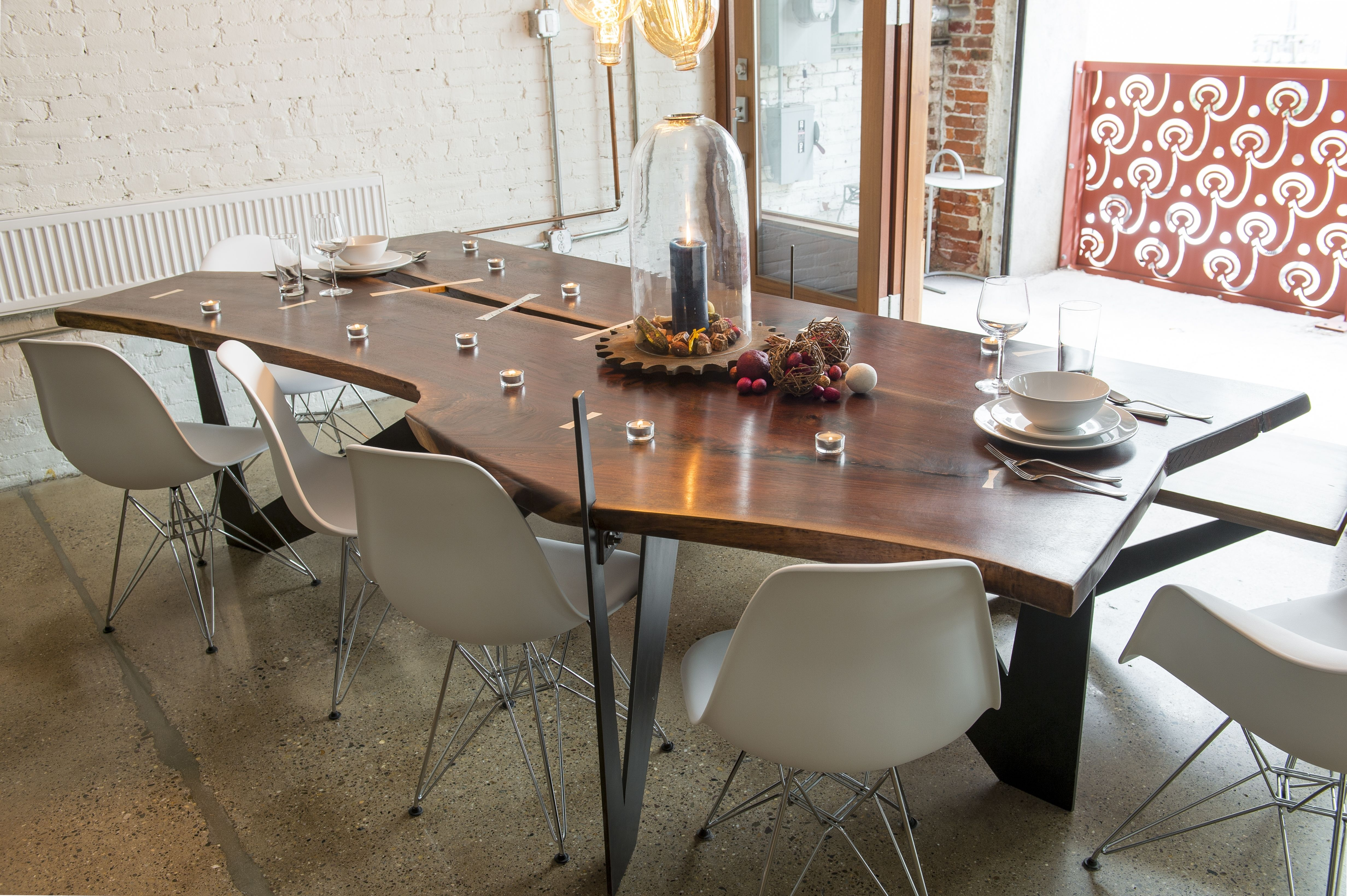 walnut dining table a bit more modern than usual maple and steel