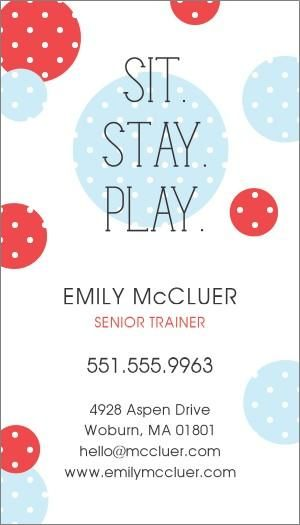 123print Personalized Online Printing Pets Animals Business Card Design Sit Stay Play