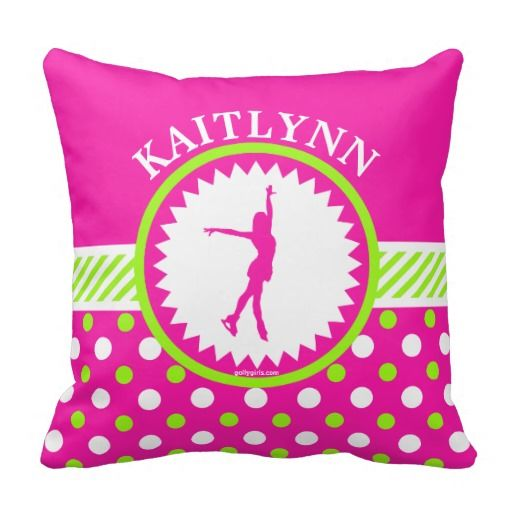 Monogrammed Figure Skater Pink - Green Polka-Dots Throw Pillows by Golly Girls
