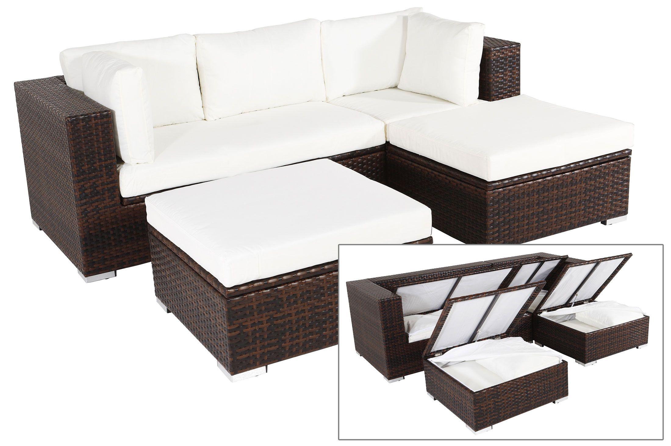 OUTFLEXX Gartenmöbelset aus Polyrattan mit Boxfunktion inkl. 2 ...