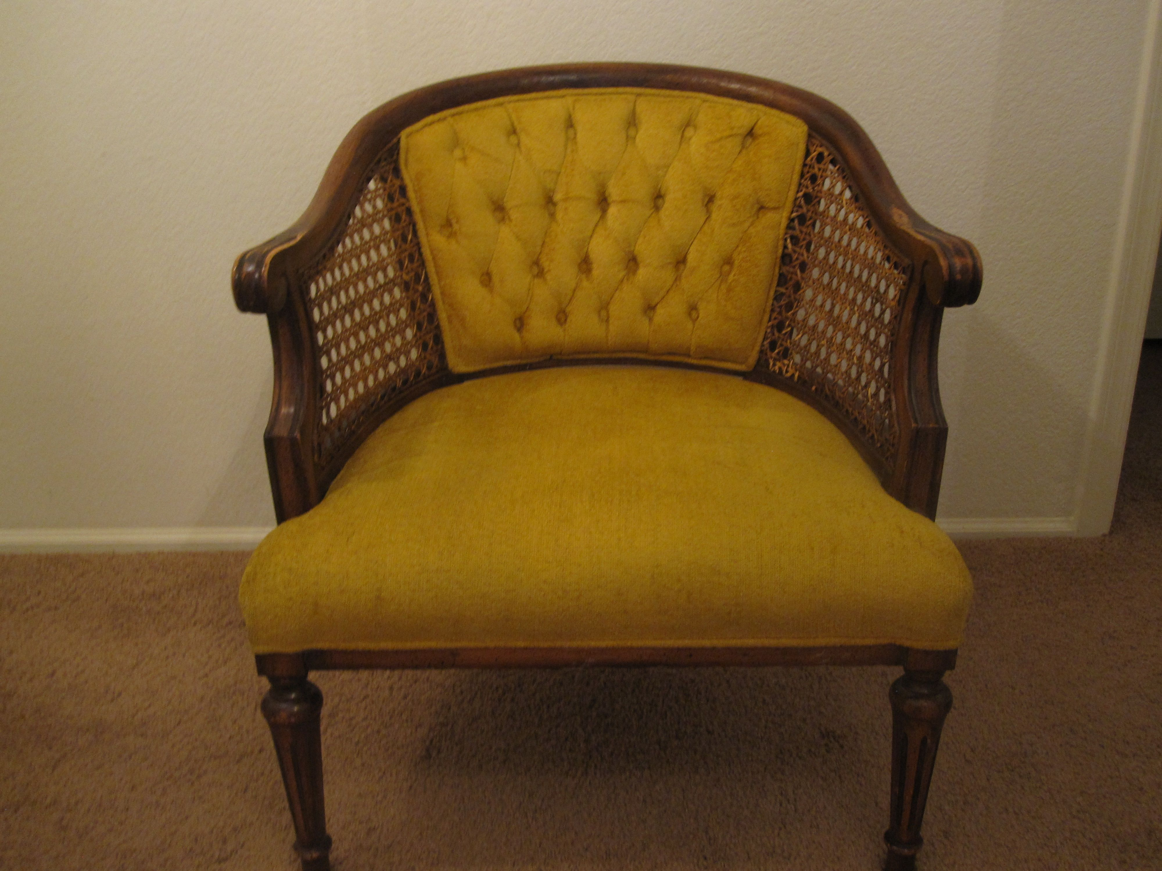 Vintage Gold Velvet Tufted Cane Barrel Arm Chair.