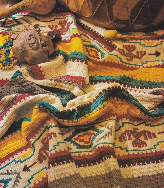 Crochet Pattern ~ INDIAN SUMMER BLANKET AFGHAN ~ Instructions ...