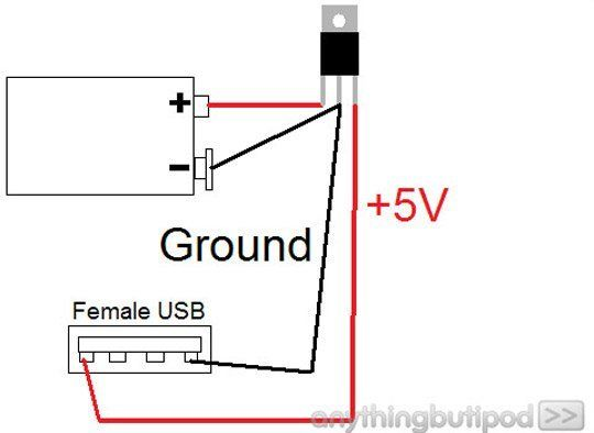 make your own 9v battery powered usb charger arduino. Black Bedroom Furniture Sets. Home Design Ideas