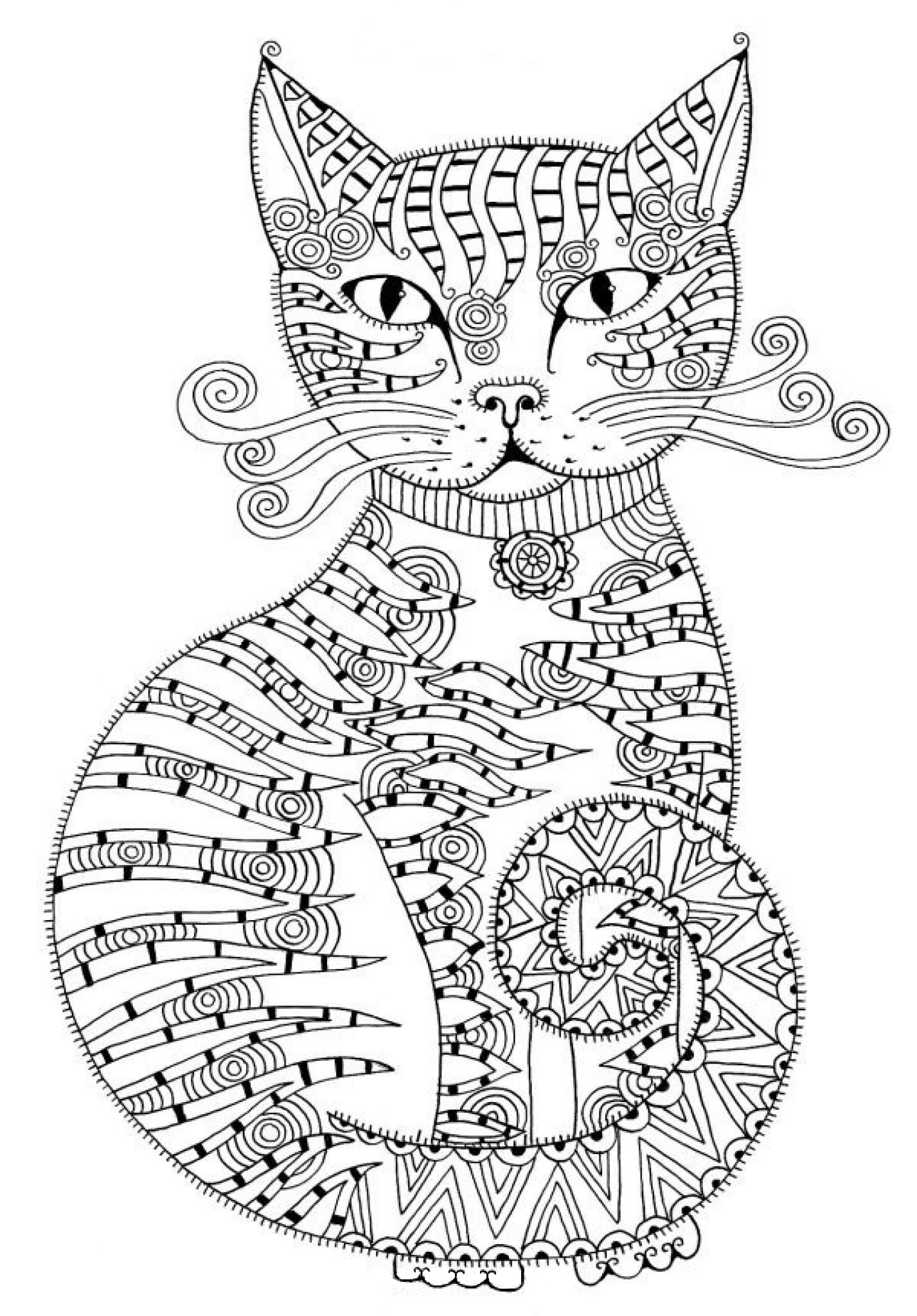 Fancy Cat Coloring Page