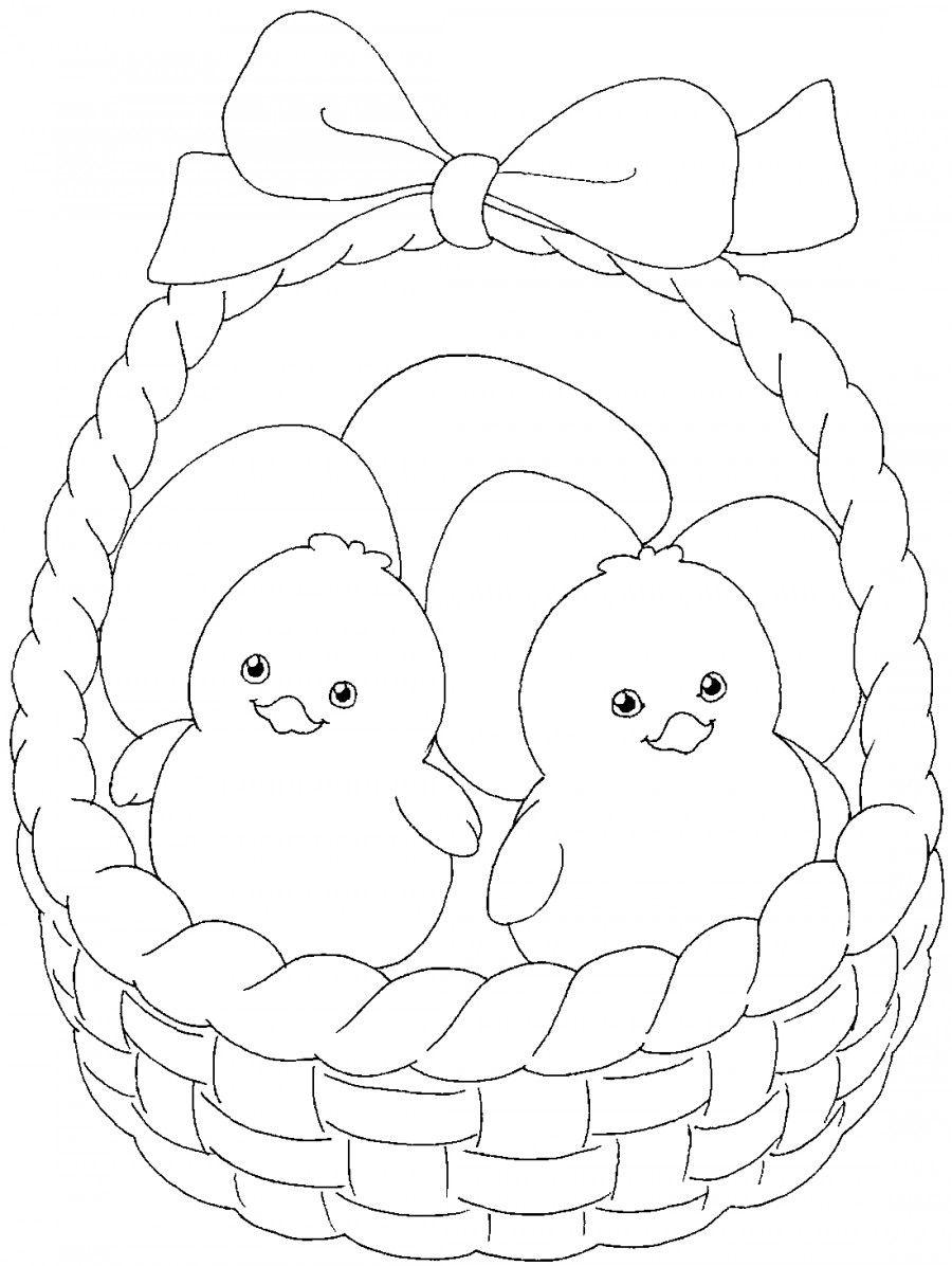 Цыплята в корзинке - раскраска №9657 | Printonic.ru ...
