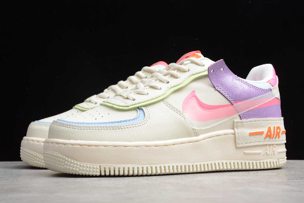 2019 Wmns Nike Air Force 1 Shadow Beige White/Orange CU3012 ...