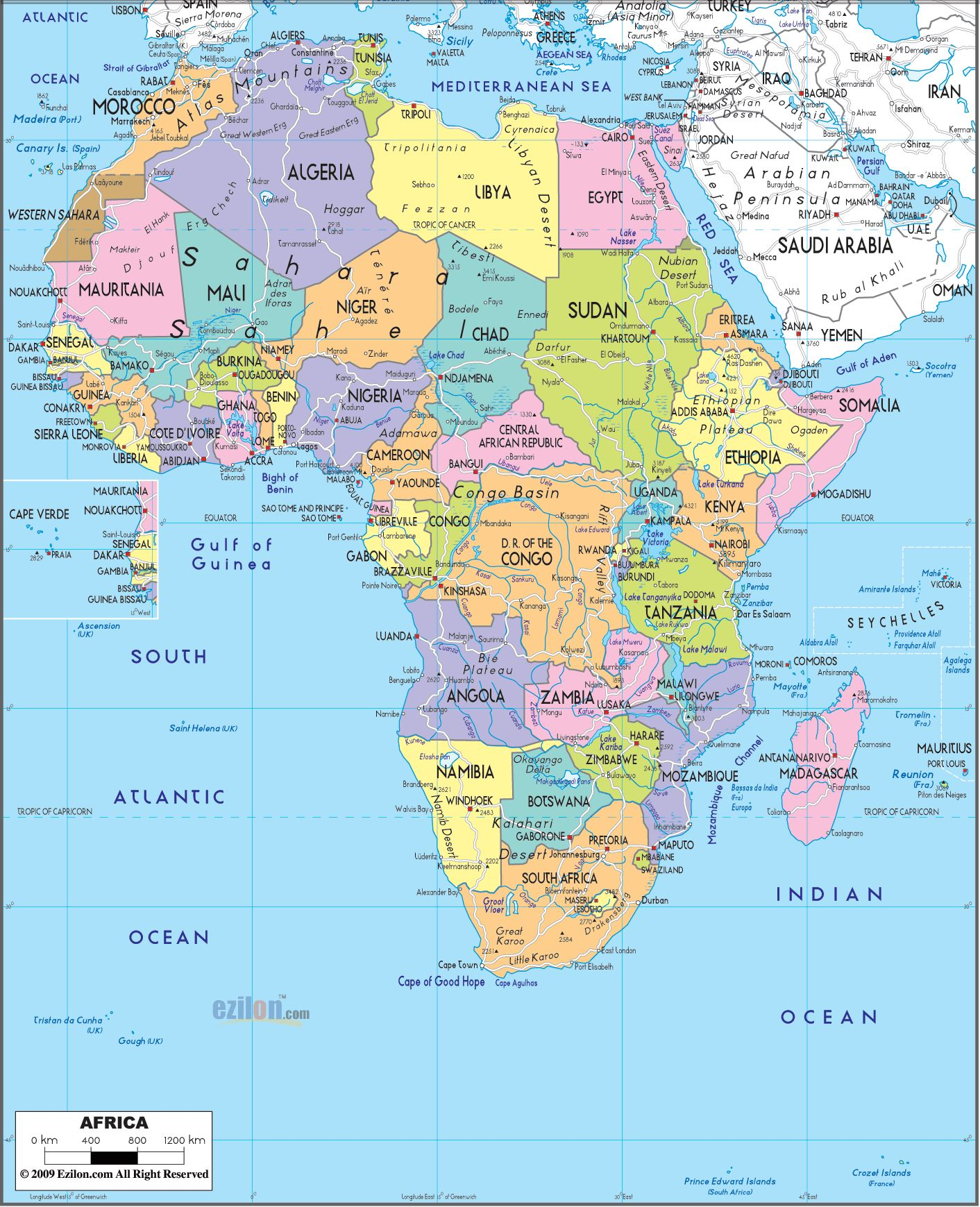 Africa Political Map AP HUG Maps Pinterest - Africa physical map countries