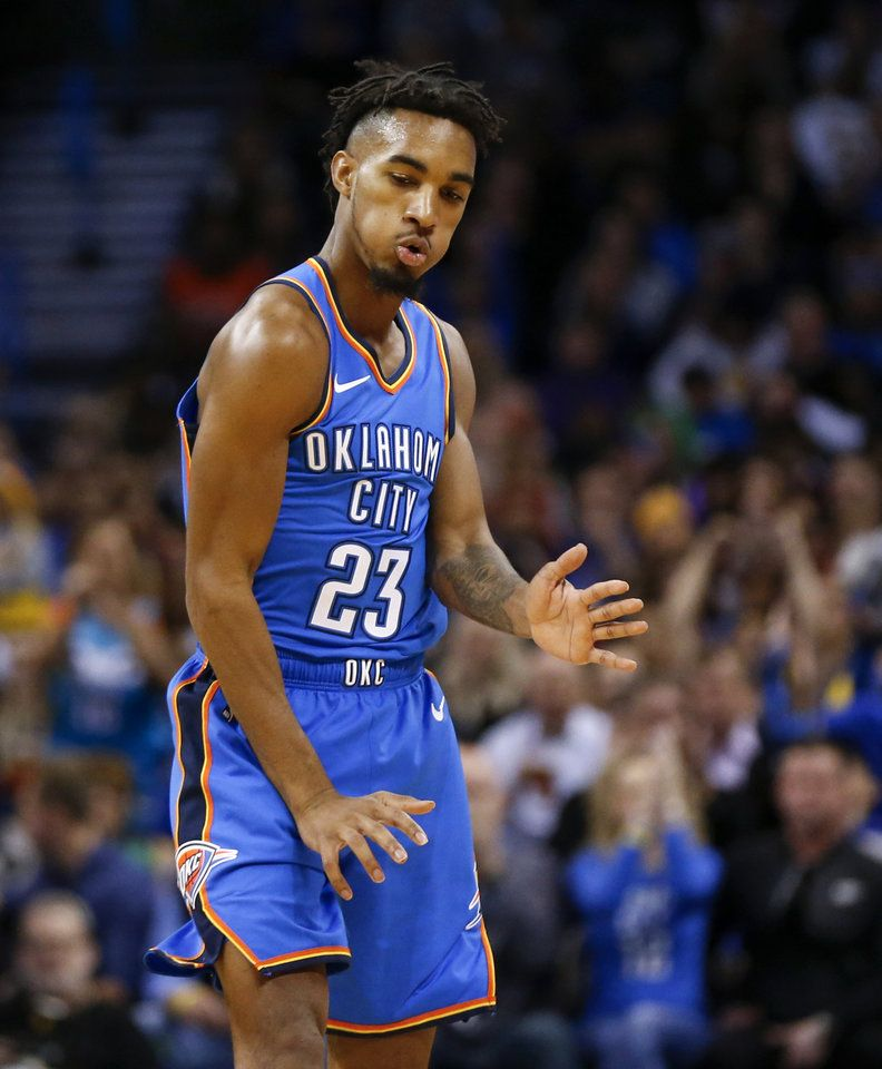 290c68cb1bcb Oklahoma City  s Terrance Ferguson (23) reacts after making a three-point  shot in the first quarter during an NBA basketball game between the Los  Angeles ...