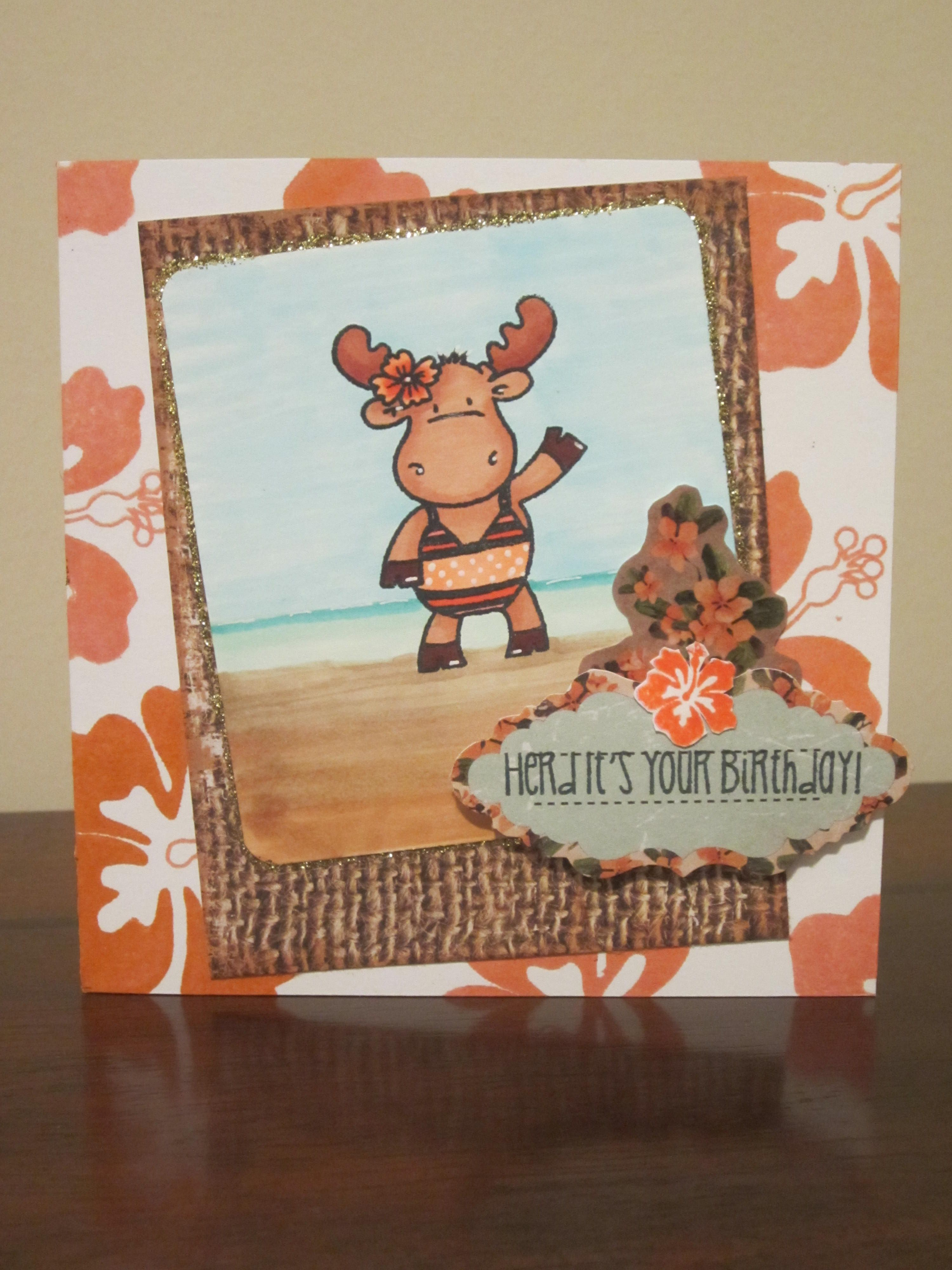 Tropical Birthday Card Using Riley And Company Moose Stamp Jaded