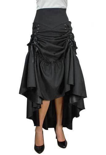 824059afb840c Plus Size Black Gothic Steampunk Burlesque Three Way Lace Up Skirt 1X 2X 3X  4X
