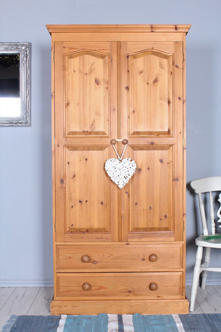 199 Double pine wardrobe with two drawers very solid and heavy all