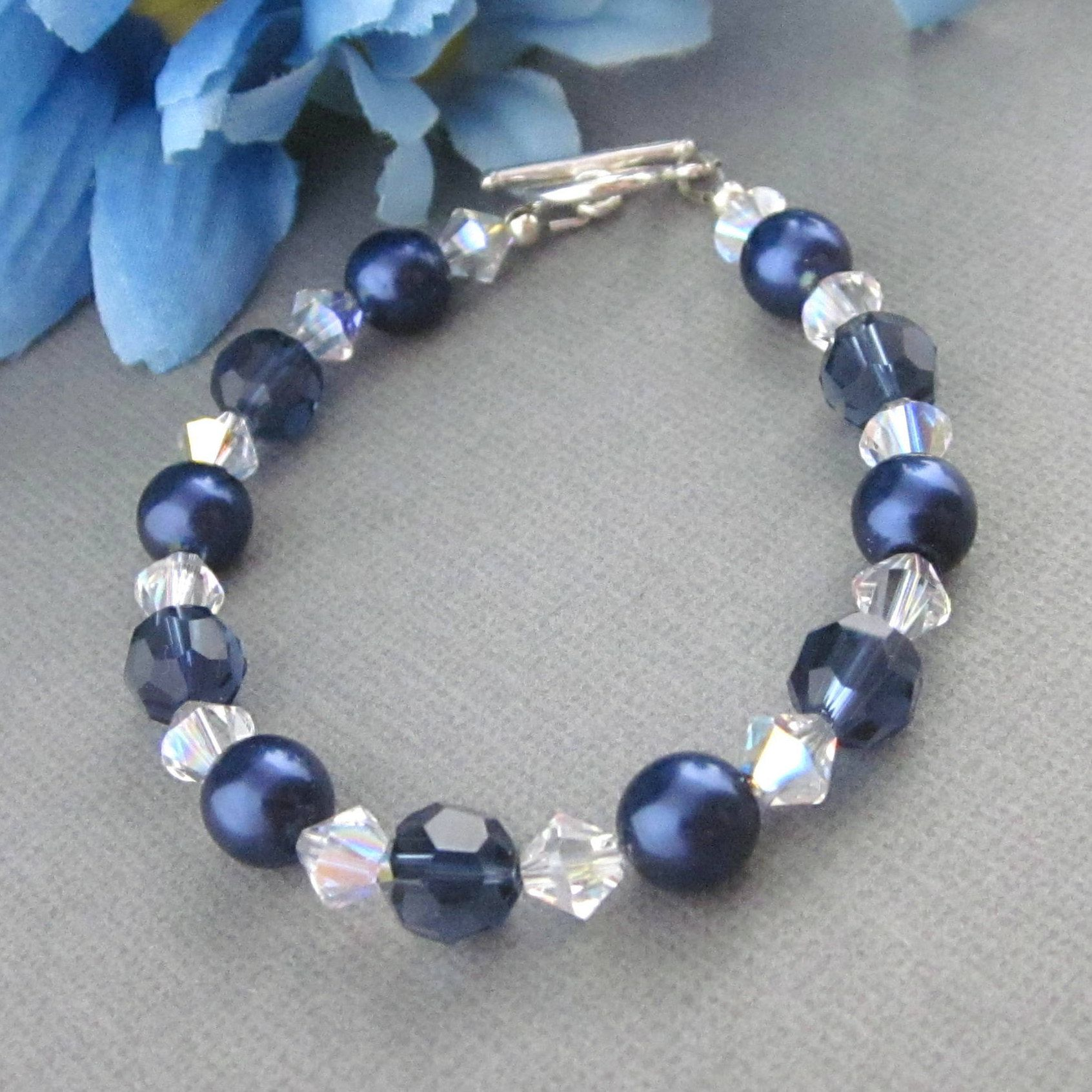 Blue Glass Bracelet Crystal Bracelet For New Mom Gift Adjustable Bracelet Sparkly Bracelet Jewelry Mother Gift New Mom Blue Round Bracelet
