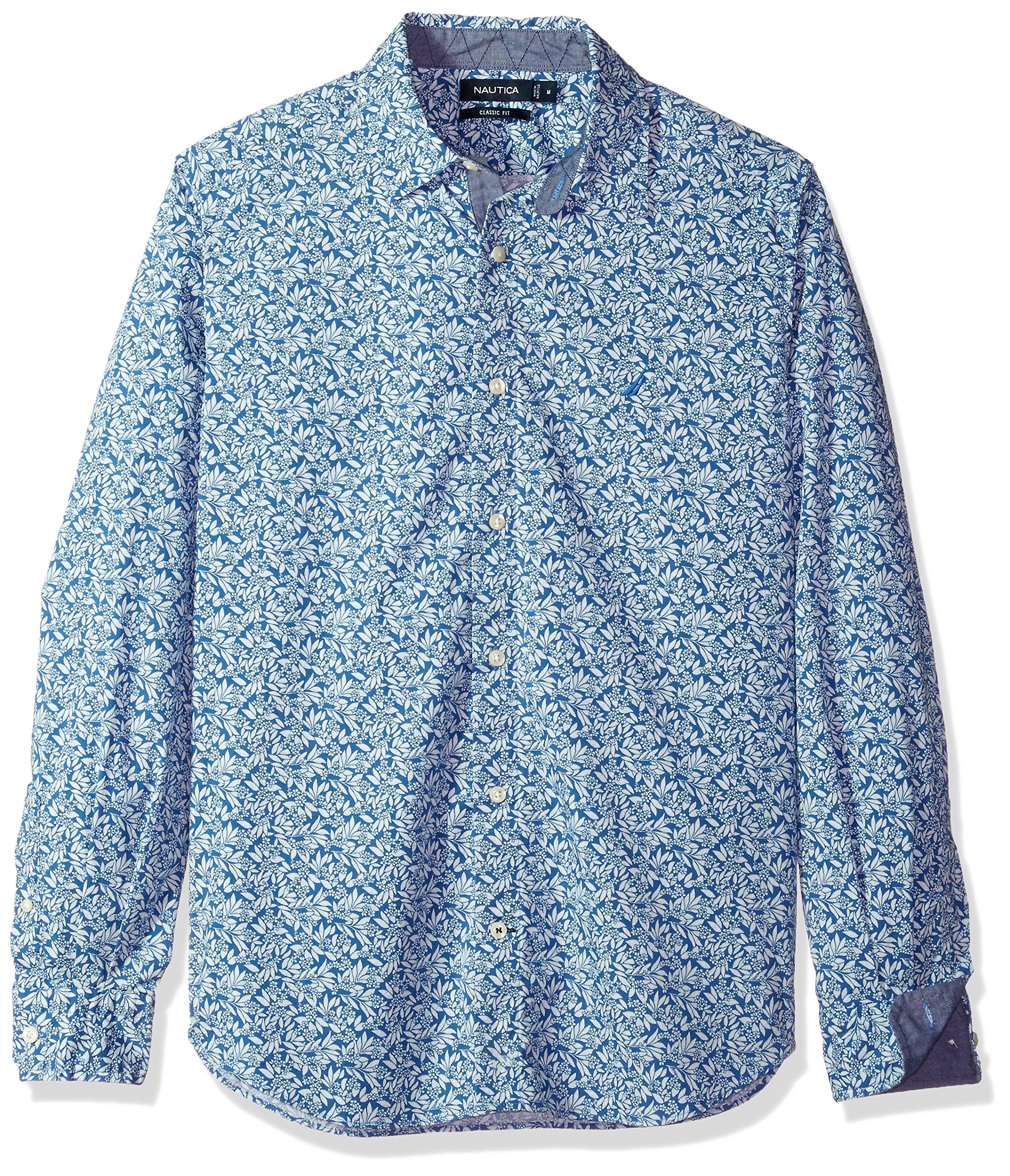 Delft H&m Nautica Mens Classic Fit Stretch Printed Long Sleeve Button Down