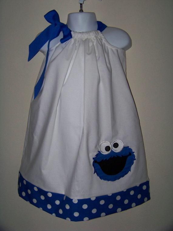 Cookie Monster Pillowcase Dress / Sesame Street by KarriesBoutique, $28.00