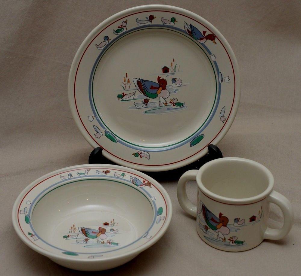 Noritake Stoneware Childs Dishes Little Ducklings Plate Bowl Mug Epoch 3 Pc Set & Noritake Stoneware Childs Dishes Little Ducklings Plate Bowl Mug ...