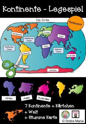 Kontinente Legespiel Stumme Karte Montessori