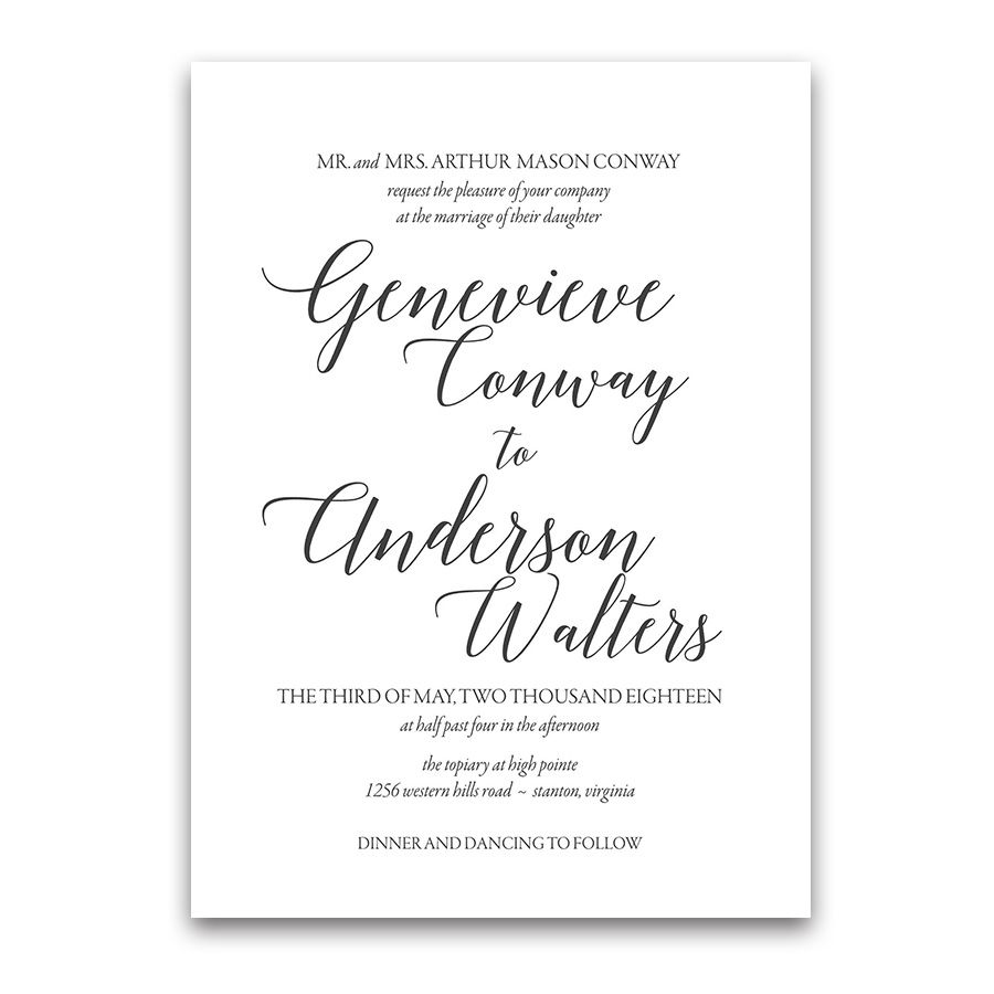 Modern Script Calligraphy Wedding Invitations | Calligraphy, Grooms ...