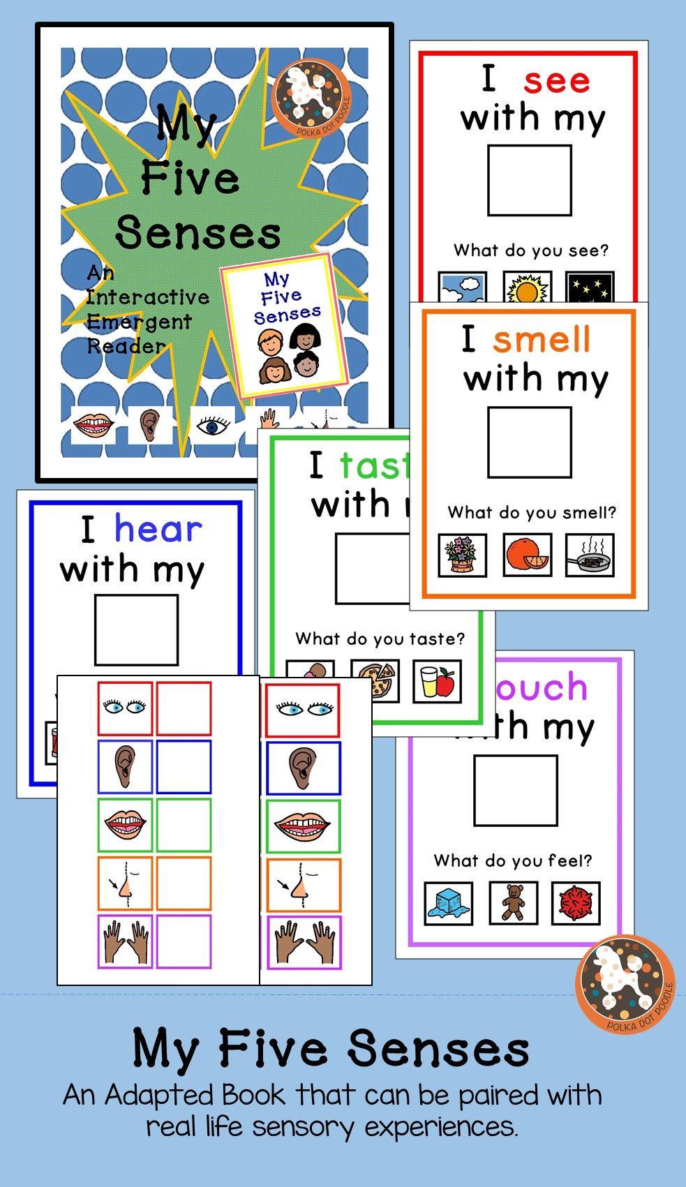 My 5 Senses Interactive Emergent Reader With Boardmaker Symbols