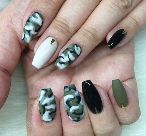 Camo Nail Art, Camouflage Nails, Camo Nails, Camo Nail Designs, Nail Art - Pin By Khalia Lisette On Nail Designs Pinterest Nails, Nail Art