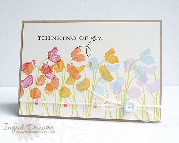 Supplies: All supplies by Papertrey Ink unless otherwise noted Cardstock: Vintage Cream, Bazzill Basics Paper (Kraft) | Clear stamps: 2010 Anniversary Set: Botanical Silhouettes | Ink: Pure Poppy, Orange Zest, Summer Sunrise, Spring Rain, Memento (Pear Tart, Lulu Lavender), Versafine (Onyx Black) | Twine: Rustic Cream Button Twine | Button: Spring Rain