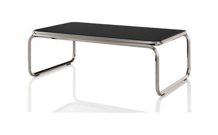 Kuba Coffee Table With Black Glass Top And Gun Metal Frame