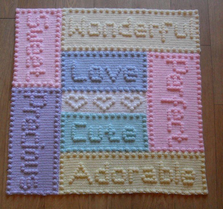 CROCHET PATTERN Baby Blanket Precious Motif Words by Peach.Unicorn ...