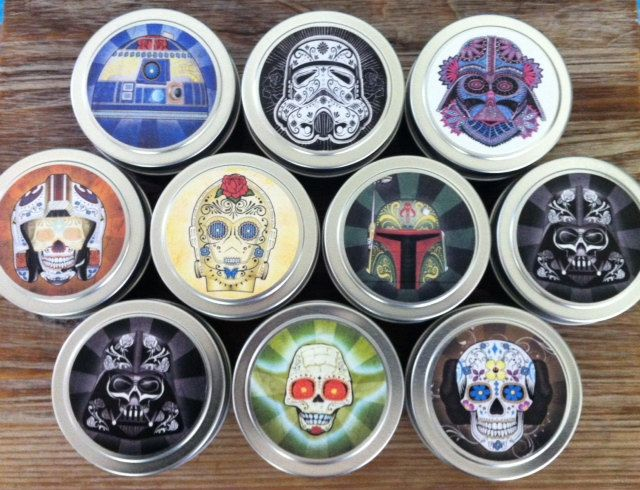 Star Wars ~ Dia de los Meuertos ~ 10 Custom 4oz candle tins ~ 100% Soy ~  Party Favors ~ Travel Tins by VintageUnwined on Etsy