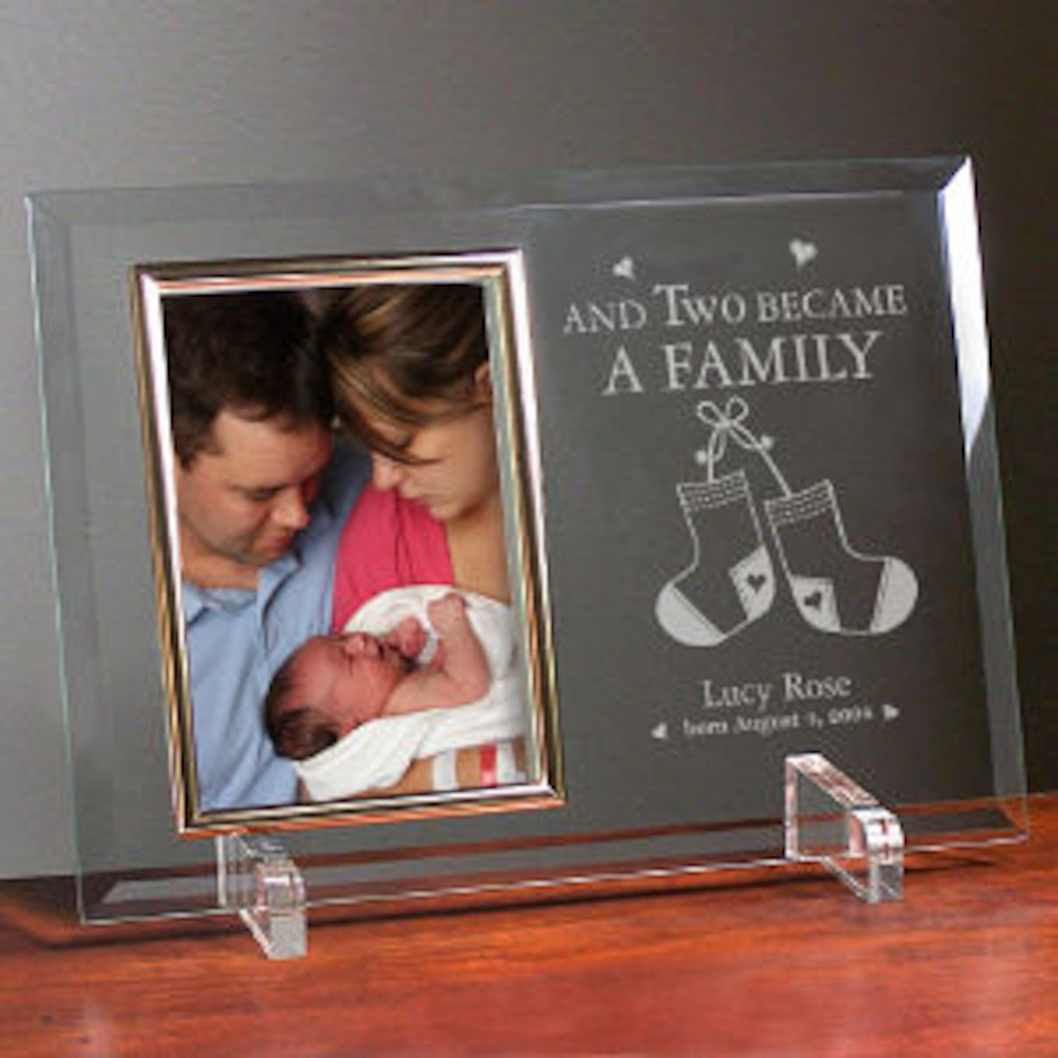Personalized Became a Family New Baby Beveled Glass Picture Frame ...