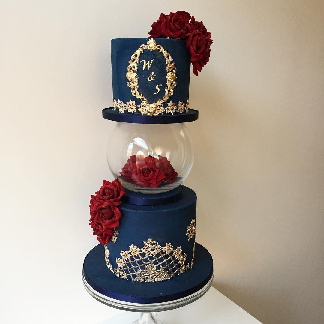 Navy Red And Gold Cake Walima Chocolateandnutella Ediblelace Hamdmade Weddingcake Monogr Wedding Cake Red Red Gold Wedding Navy Blue And Gold Wedding
