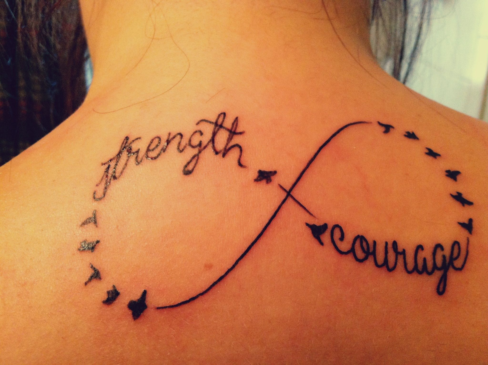 Strength and courage infinity tattoo tattoos pinterest birds infinity tattoo sign on the back biocorpaavc Images