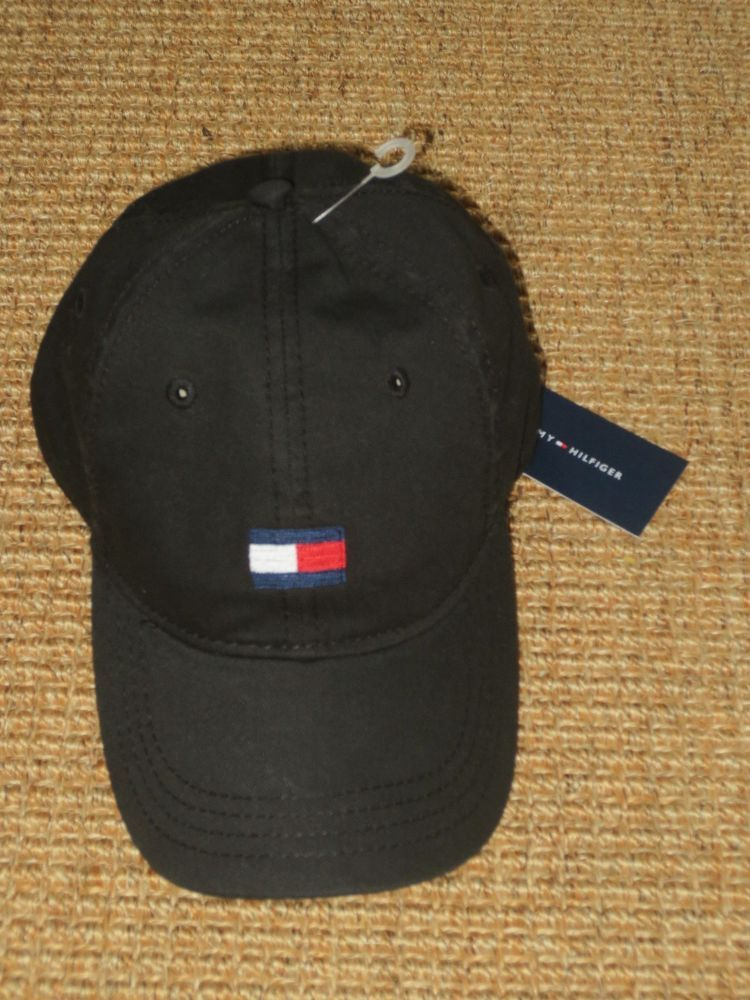 c65ce51f126 NWT TOMMY HILFIGER MEN S BASEBALL CAP HAT BLACK BIG FLAG LOGO SPORT CLASSIC   TommyHilfiger  BaseballCap
