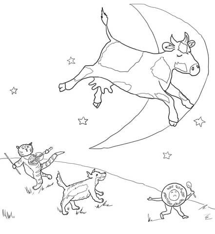 Hey Diddle Diddle Coloring Page From Mother Goose Nursery Rhymes