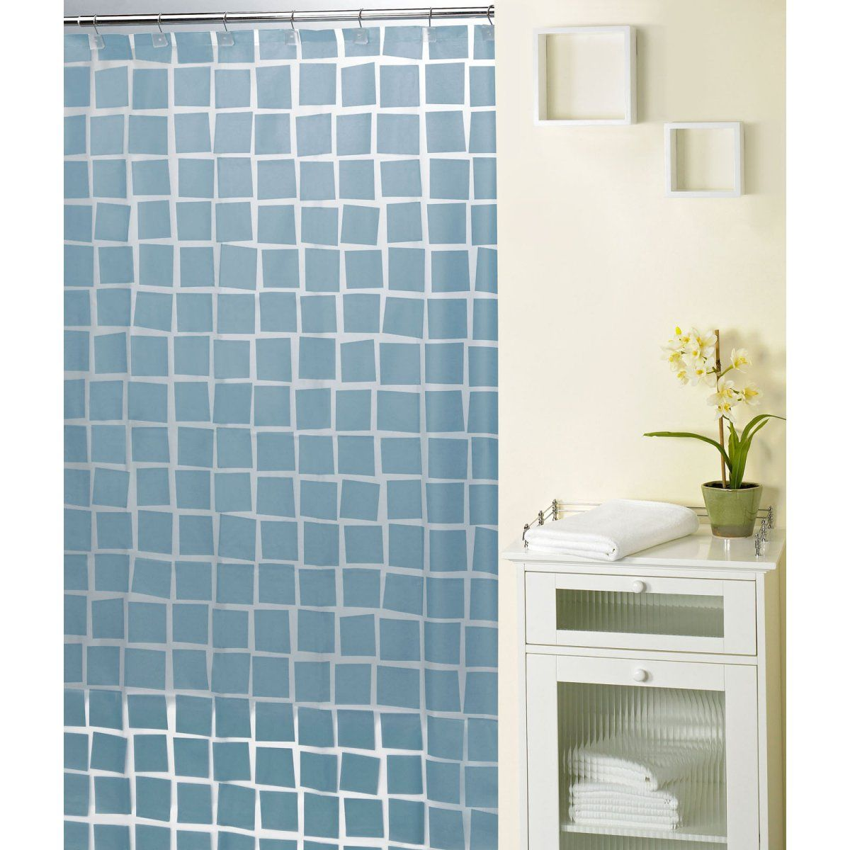 Real Squares Blue Shower Curtain With Images Orange Shower