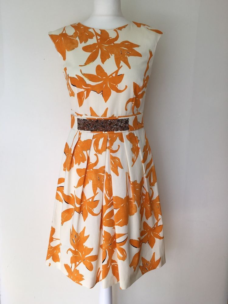 af0fb2946418a MARELLA Ladies Orange Floral Embellished Dress NEW Was £235 size 10 ...